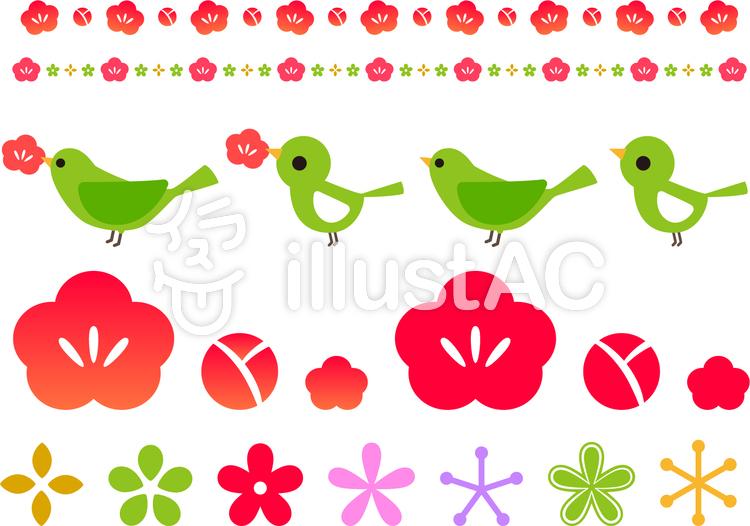 梅の花とうぐいす可愛いラインセットイラスト No 363739無料