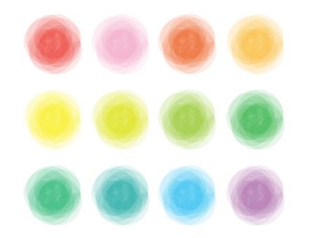 Watercolor colorful circle set