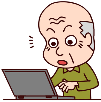 Illustration of elderly people using a personal computer