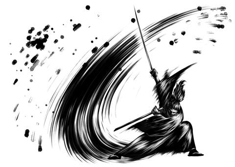 Samurai action ink painting wind