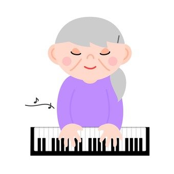 An elderly woman playing the piano