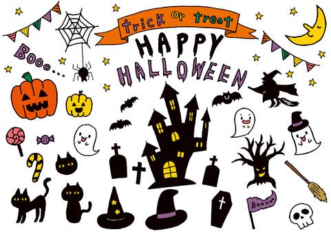 Halloween hand drawn illustration set