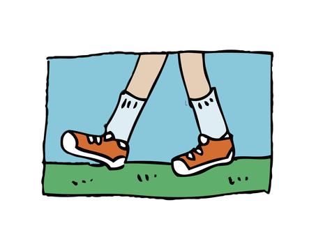 Foot walking with sneakers