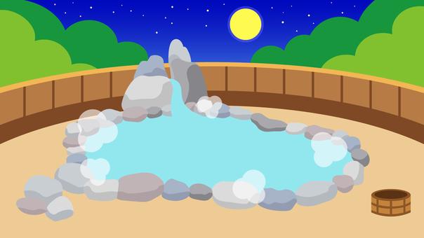 Brief Background Hot Spring Outdoor Bath Night Wide 16: 9