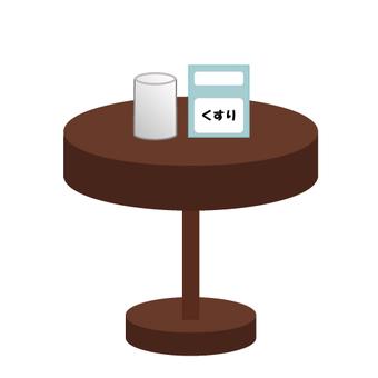 醫學和杯子放在桌子上