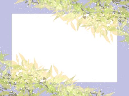 Watercolor leaves frame