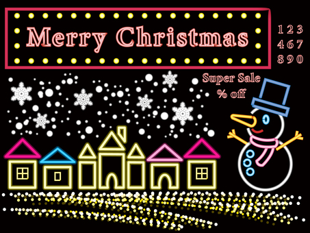 Christmas neon tube wind snowman
