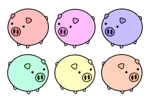 Pastel color pigs