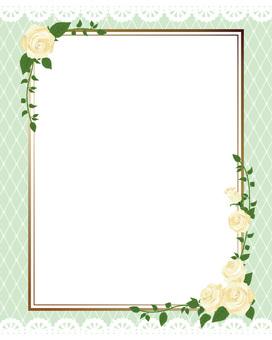 White rose's diagonal frame · Decorative frame length 02
