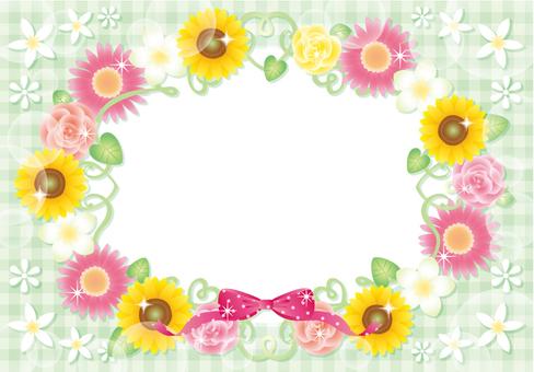 Sunflower and flower frame (green)