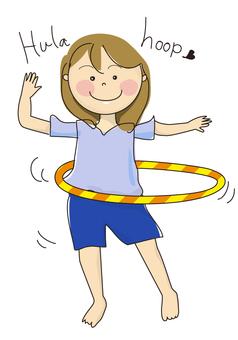Woman doing hula hoop