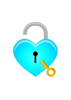 Heart type key (with key · blue)