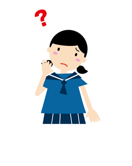 A female student in troubled face