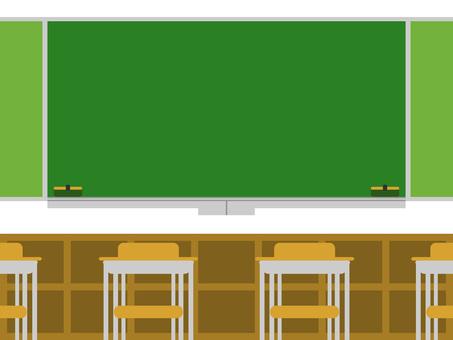 Background of the classroom (behind the blackboard · chair)