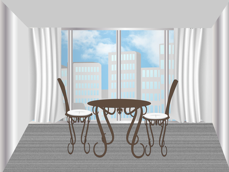 Room with high-rise buildings
