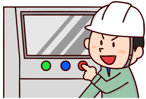 Illustration of a man working at a factory