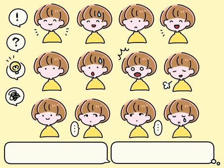 Women's Icon Facial Expression 12 Type / Speech Bubble Set