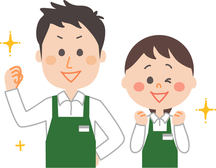 Male and female employee wearing an apron green