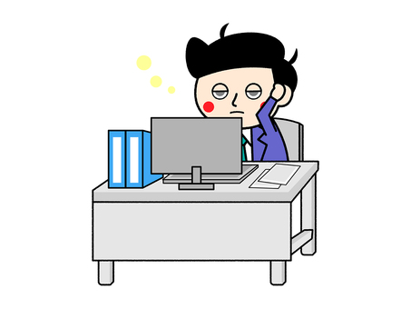A salaryman who does not turn his head because of lack of sleep