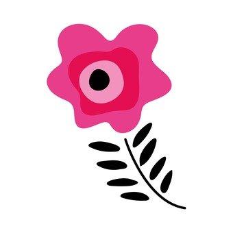 북유럽 풍의 꽃 (블랙, 핑크)