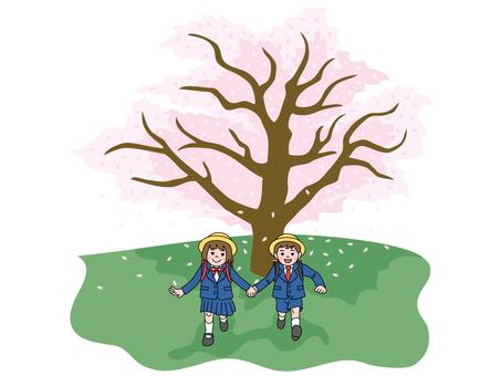 Sakura tree and first grade elementary school students