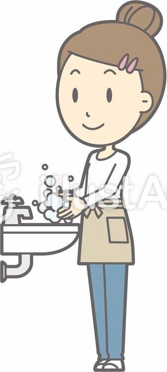 エプロン主婦c-手洗い-全身のイラスト