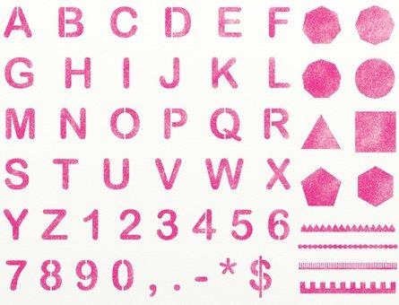 Alphabetical number pink