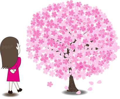 Woman who sees cherry blossoms