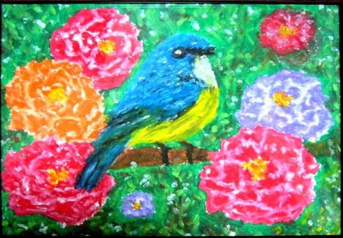 Blue bird and peony
