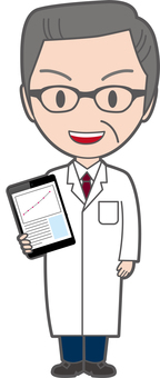 Senior doctor with tablet