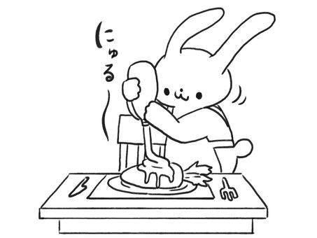 [흑백] 마요네즈 사랑 토끼 [선]