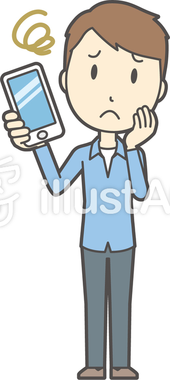 ブルー襟シャツ男性-065-全身のイラスト