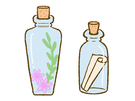 Letters and flowers in a small bottle