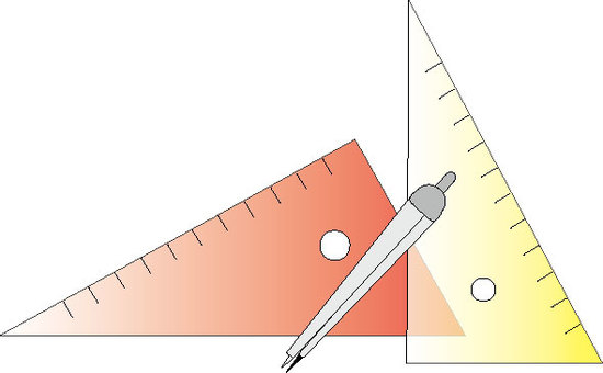 Triangular ruler and compass