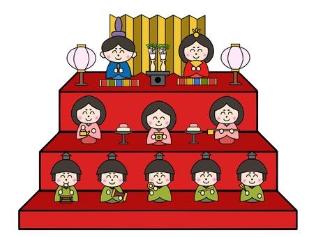 Hinamatsuri three-stage decoration