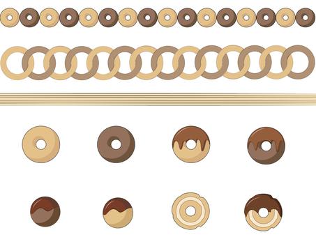ドーナツのラインとアイコン