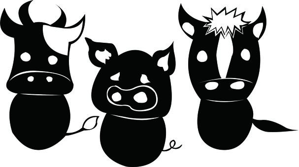 3 trios of bovine pig horse