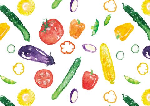 《水彩風》夏野菜のパターン