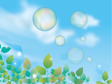 Fresh green and soap bubbles and sky