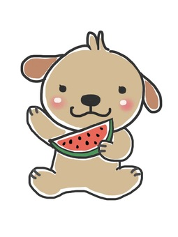 Watermelon and dog