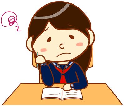 "Sailor uniform (studying - thinking) ""red"""