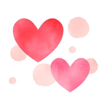 Watercolor style heart set