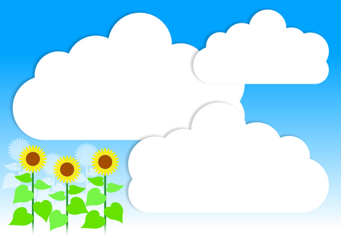 Sunflowers and summer clouds - sideways