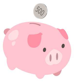 500 yen savings_ pig piggy bank (1 sheet
