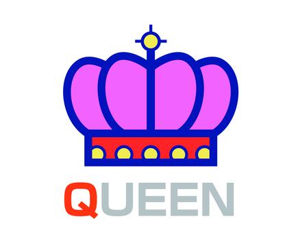English word card Q QUEEN