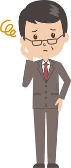 Middle-aged man | salaried worker | suits | troubled face
