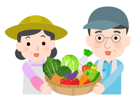 Male and female farmers with vegetables