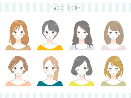Adult female face icon
