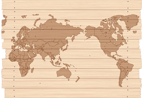 World map map tree wood grain natural