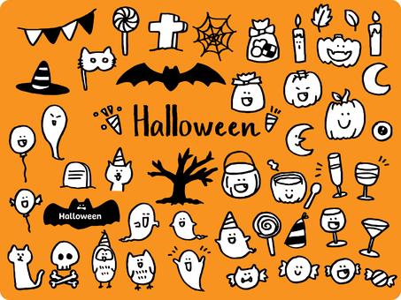 Hand drawn cute halloween material set
